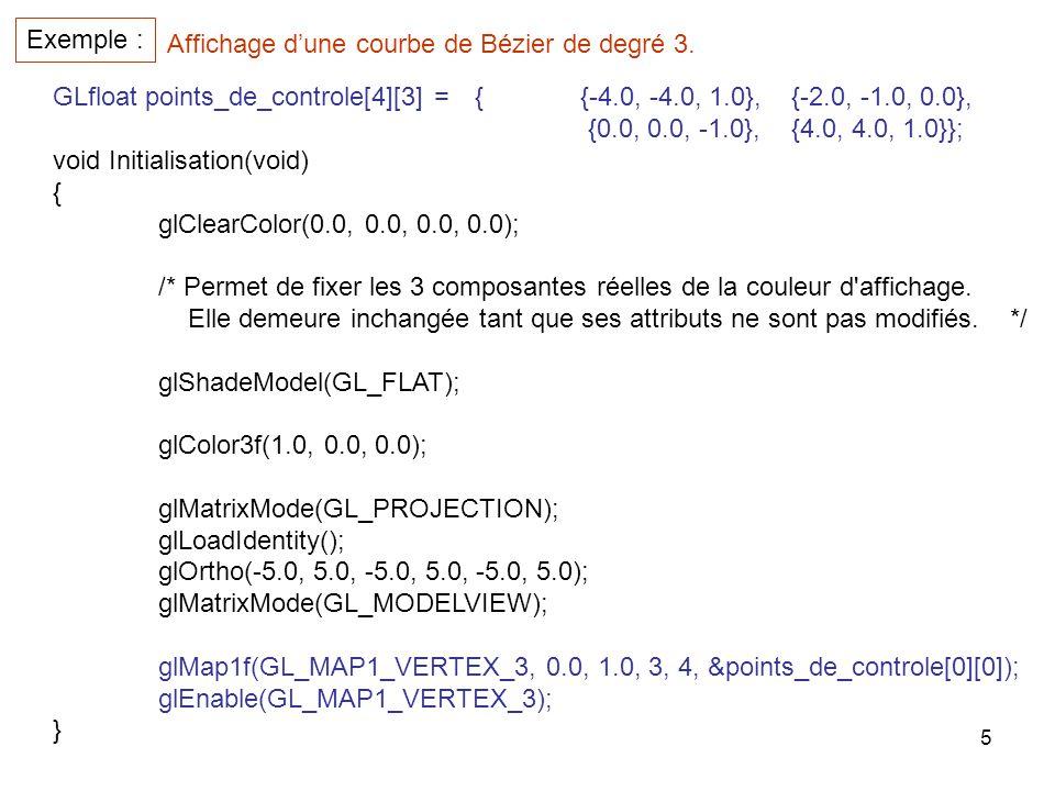Exemple : Affichage d'une courbe de Bézier de degré 3. GLfloat points_de_controle[4][3] = { {-4.0, -4.0, 1.0}, {-2.0, -1.0, 0.0},